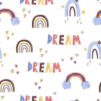 Rainbow doodle hand drawn style seamless pattern on white background for childish design