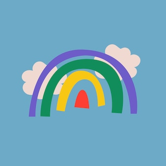 Adesivo scarabocchio arcobaleno, illustrazione carina in un colorato design retrò vettoriale