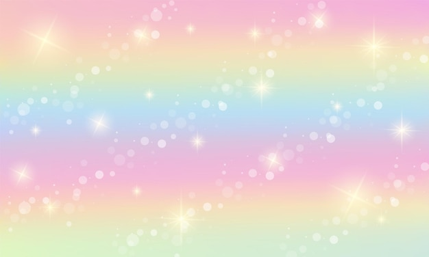 Rainbow fantasy background. holographic illustration in pastel colors. sky with stars and bokeh.