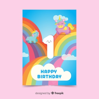 Rainbow first birthday card template