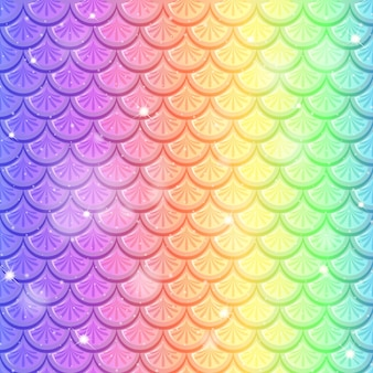 Rainbow fish scale seamless pattern background