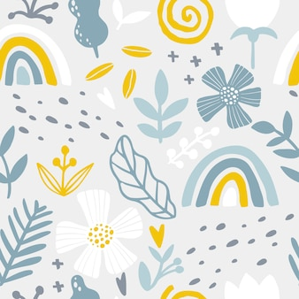 Rainbow floral seamless pattern. abstract tile in hand-drawn simple doodle cartoon style. scandinavian illustration in blue yellow pastel palette