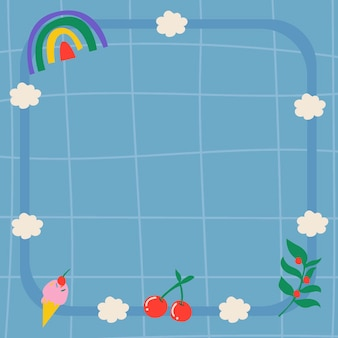 Радужный фон рамки, синий эстетический узор сетки с милым вектором каракули