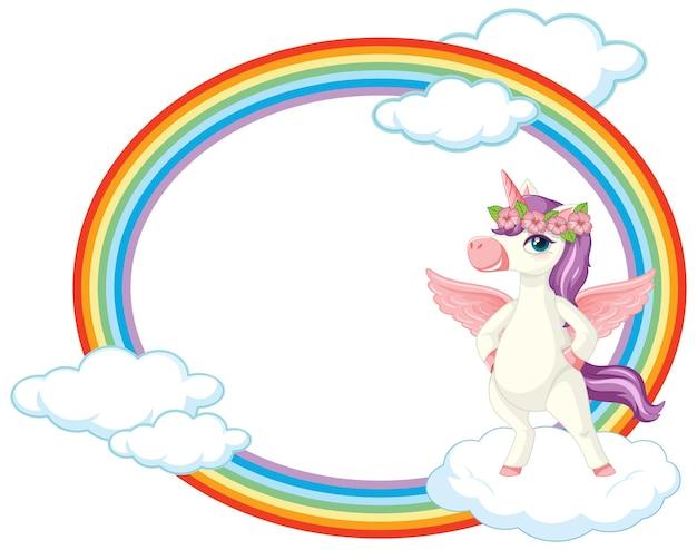 Cornice arcobaleno con simpatico personaggio dei cartoni animati di unicorno