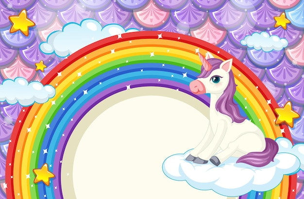 Rainbow frame with cute unicorn on colourful fish scales background