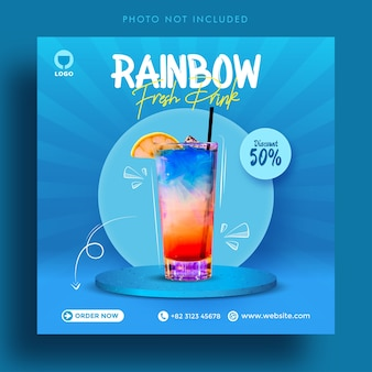 Rainbow fresh drink sale social media post advertising banner template
