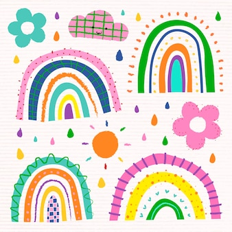 Rainbow in funky doodle style vector set