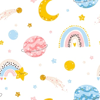 Rainbow galaxy seamless pattern with moon planets and stars