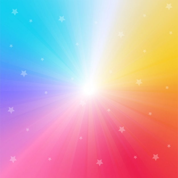 Rainbow gradient background with bright rays and sparkling stars