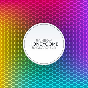 Rainbow gradient background with honeycomb texture