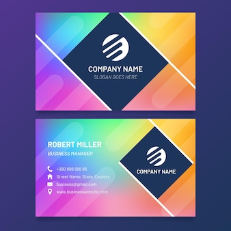 Rainbow gradient business card template
