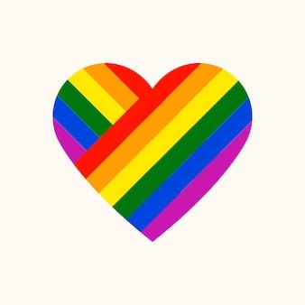 Cuore arcobaleno, vettore dell'icona del mese dell'orgoglio lgbt