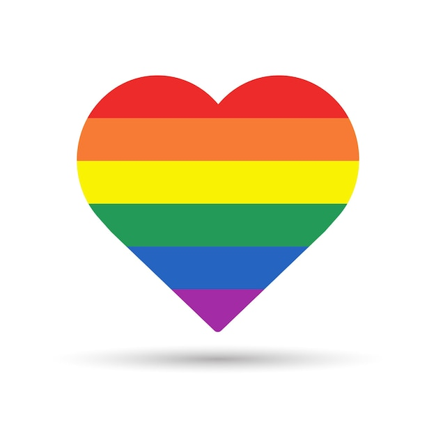 Rainbow heart lgbtq pride concept heart shape in lgbtq flag on white background