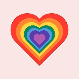 Vettore del cuore arcobaleno per il concetto del mese dell'orgoglio lgbtq