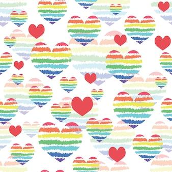 레인보우 하트. 원활한 패턴