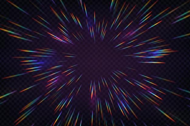 レインボーホログラフィックハロー光線