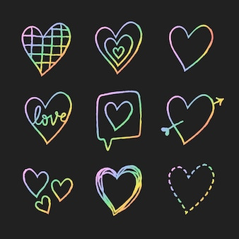 Rainbow holographic heart element vector set in hand drawn style