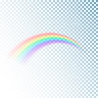 虹のアイコン。装飾用のカラフルな光と明るいデザイン要素。透明な背景に分離された抽象的な虹の画像