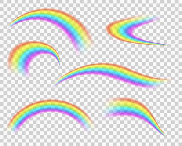 透明な背景に分離された虹のアイコンセット夏の空の雨の後のぼやけた曲線の縞模様