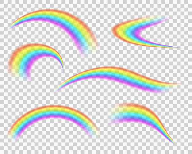 Rainbow icon set isolated on transparent background blurred curve stripes after rain in summer sky