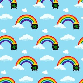 白い背景で隔離の端に金貨と雲のポットと虹のアイコン。聖パトリックの日フラットデザイン漫画スタイルのサイン。子供たちのデザインの幸運のシンボルのベクトルイラスト。