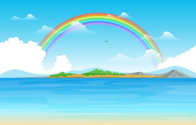 Rainbow above lake sea nature landscape scenery illustration
