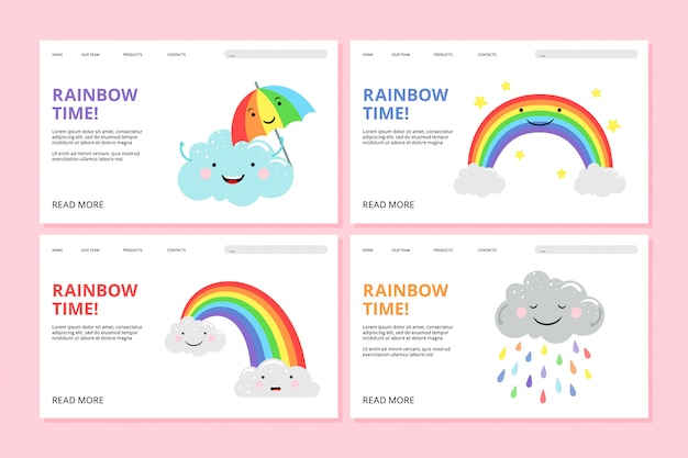 Rainbow landing page.  pride web banners with cute cartoon characters