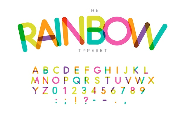 Rainbow letters and numbers set. festival style vector latin alphabet. font for events, birthday, kids promotions, festival logos, banner, monogram and poster. typography design