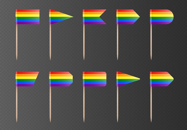 Rainbow lgbtq toothpick flags isolated on a transparent background. pride flag on a wooden stick. vector party decorations collection.