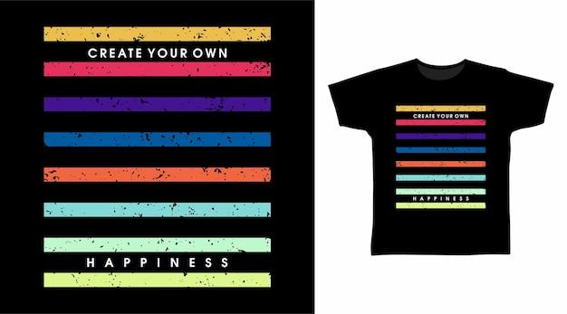 레인보우 라인 아트 타이포그래피 티셔츠 디자인