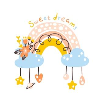 Радужный мобильный детский плакат в стиле бохо