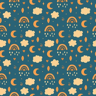 Rainbow, moon, clouds and stars pattern