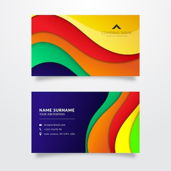 Rainbow multicolored business card template