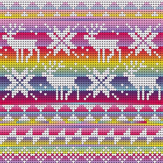 Rainbow neon colors christmas seamless pattern with knitted deer and star, gradient background