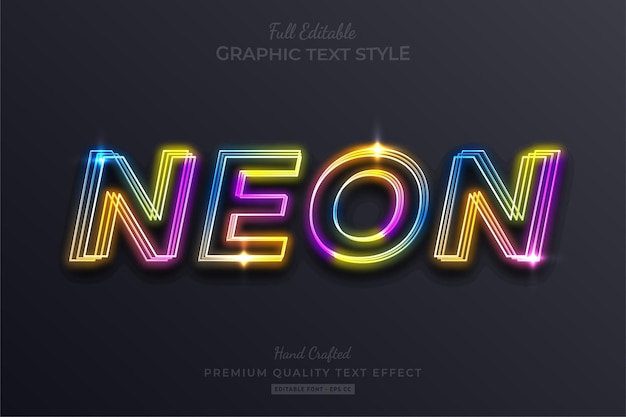 Rainbow neon editable text effect font style Premium Vector