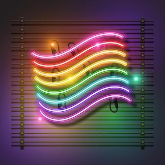 Радужный неоновый флаг. гордость неоновый флаг