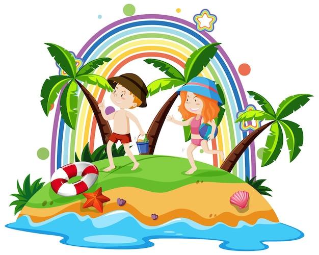 子供たちと一緒に島の虹