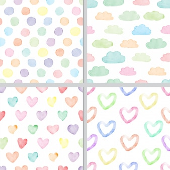 Rainbow pastel watercolor minimal heart and cloud seamless pattern