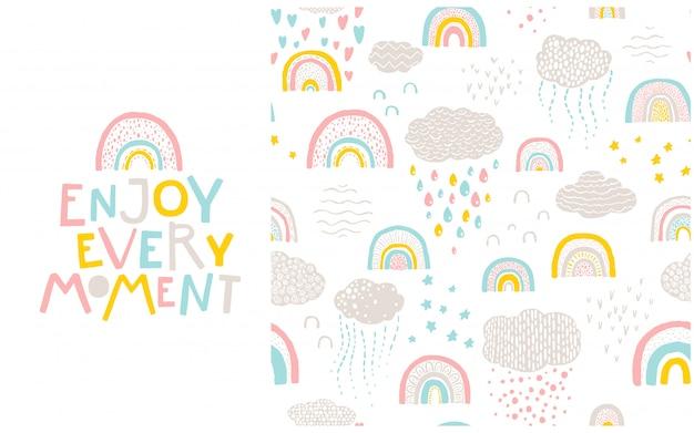 무지개 패턴과 글자 문구. 매 순간을 즐기십시오. 파스텔 팔레트에서 스칸디나비아 스타일의 손으로 그린 만화 그림.