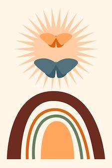 무지개 패턴 배경입니다. 만화 무지개 아치 보헤미안 디자인 베이비 샤워 초대장, 어린이 가게 태그, 소녀 티셔츠 인쇄 등을 위한 미니멀리스트 인쇄