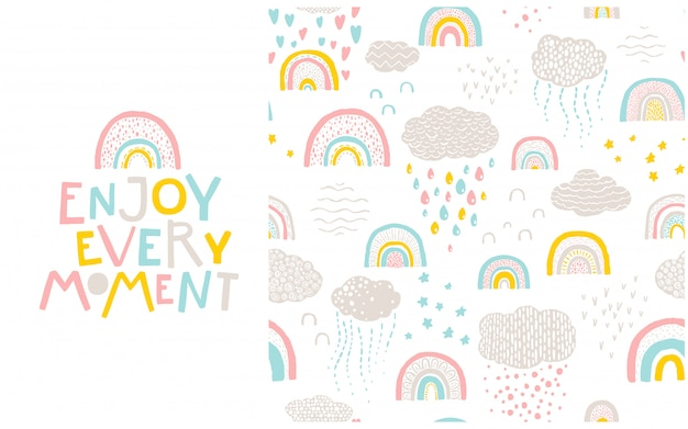 Rainbow pattern and lettering phrase to it. enjoy every moment.  hand-drawn cartoon illustration in scandinavian style in a pastel palette.