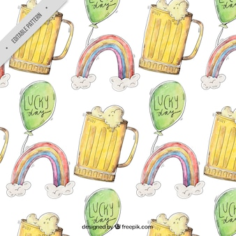Rainbow pattern with beer and watercolor balloons