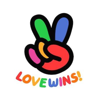 무지개 평화 히피 제스처입니다. 사랑 날개 인용 슬로건. 벡터 손으로 그린 만화 그림 아이콘입니다. 평화, 사랑, 게이, lgby 친화적 인 티셔츠, 포스터 개념 인쇄