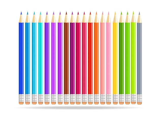 Rainbow pencils isolated on white background.