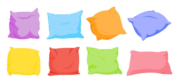 Rainbow pillow cartoon set. home interior soft textile. seven color square pillows template