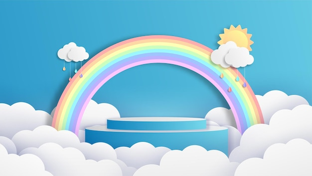 Rainbow podium with clouds on blue background