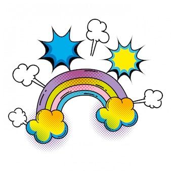 Rainbow pop art style
