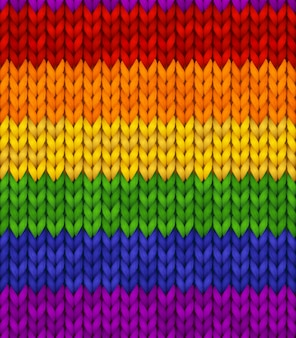 Rainbow realistic knit texture. colorful seamless pattern for lgbt. editable background for banner, site, card, wallpaper.  illustration for pride.