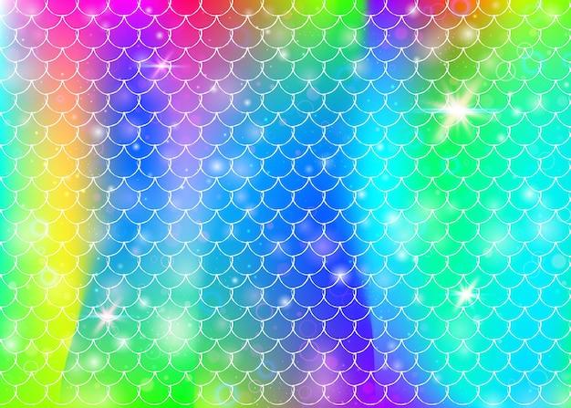 가와이이 인어 공주 패턴으로 무지개 비늘 배경. 마법의 반짝임과 별이 있는 물고기 꼬리 배너. 여자 파티를 위한 바다 환상 초대. 무지개 비늘이 있는 밝은 배경.