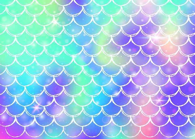 가와이이 인어 공주 패턴으로 무지개 비늘 배경. 마법의 반짝임과 별이 있는 물고기 꼬리 배너. 여자 파티를 위한 바다 환상 초대. 무지개 비늘이 있는 창의적인 배경.